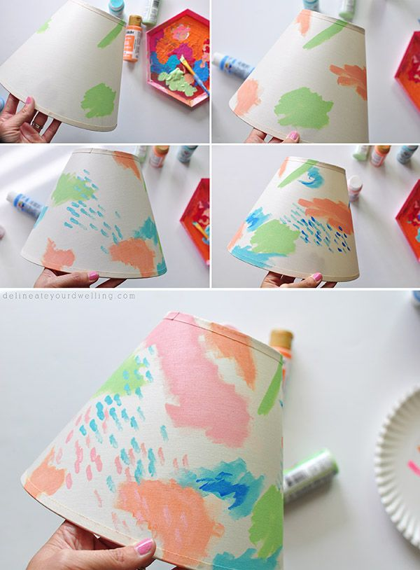 Painted Lamp Shades: Colorful Painted Lampshade steps,Lighting