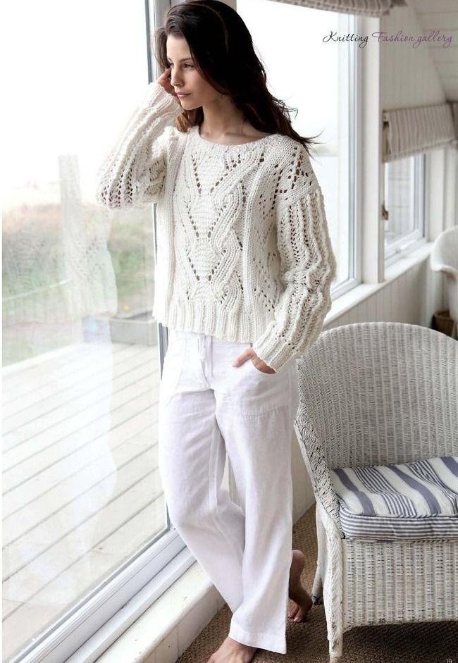 Белый пуловер спицами схема. Как связать женский пуловер спицами | Я Хозяйка