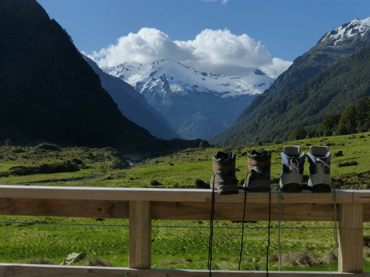 Hiking Boots dry out after a long day's walking in the beautiful Siberia Valley, Mt Aspiring National Park.