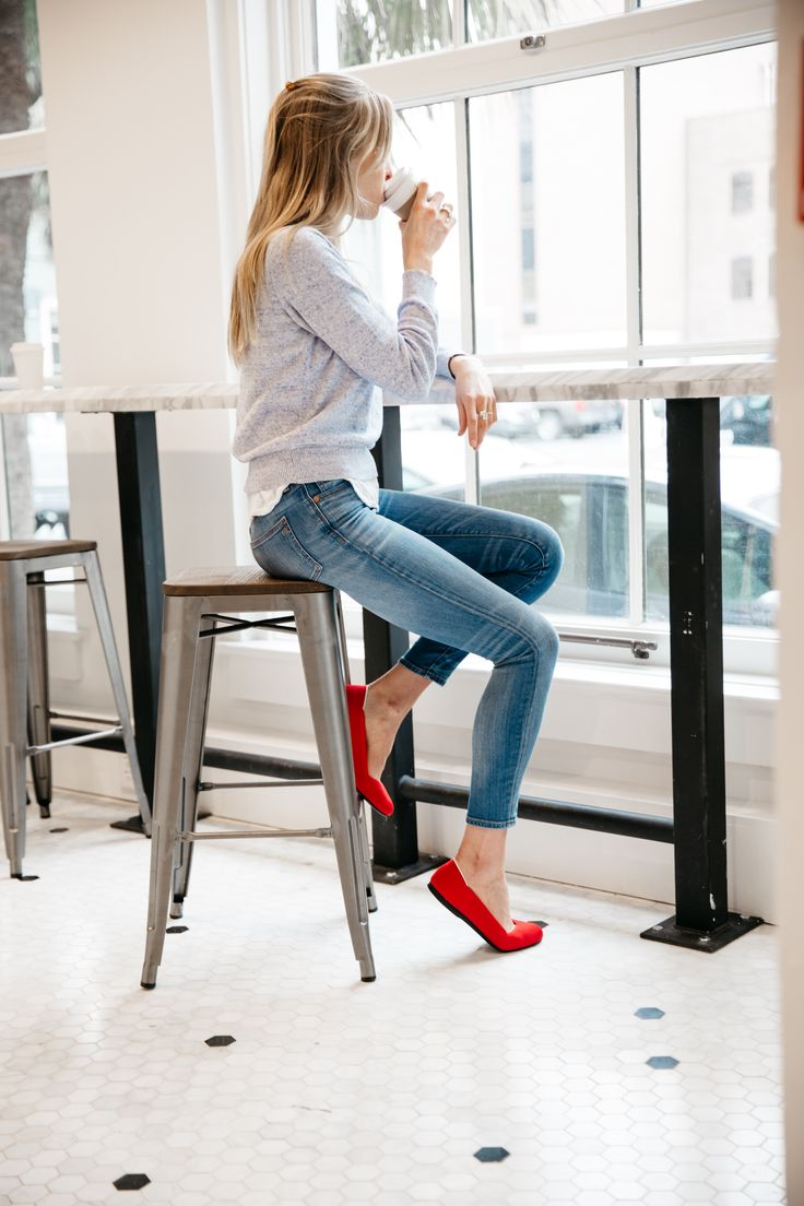 Want to spice up a neutral outfit? Add that perfect pop of red. #LiveSeamlessly #Rothys