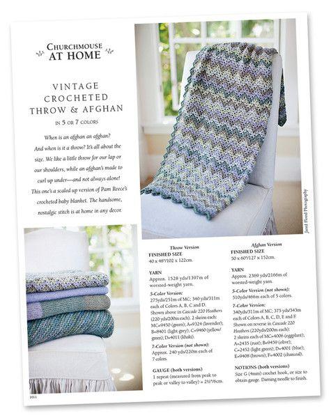 Vintage Crocheted Throw & Afghan (in 5 or 7 colors) Pattern