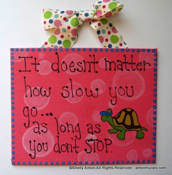 Motivational Sign Hand Painted Turtle 8x10 Classroom Decor
