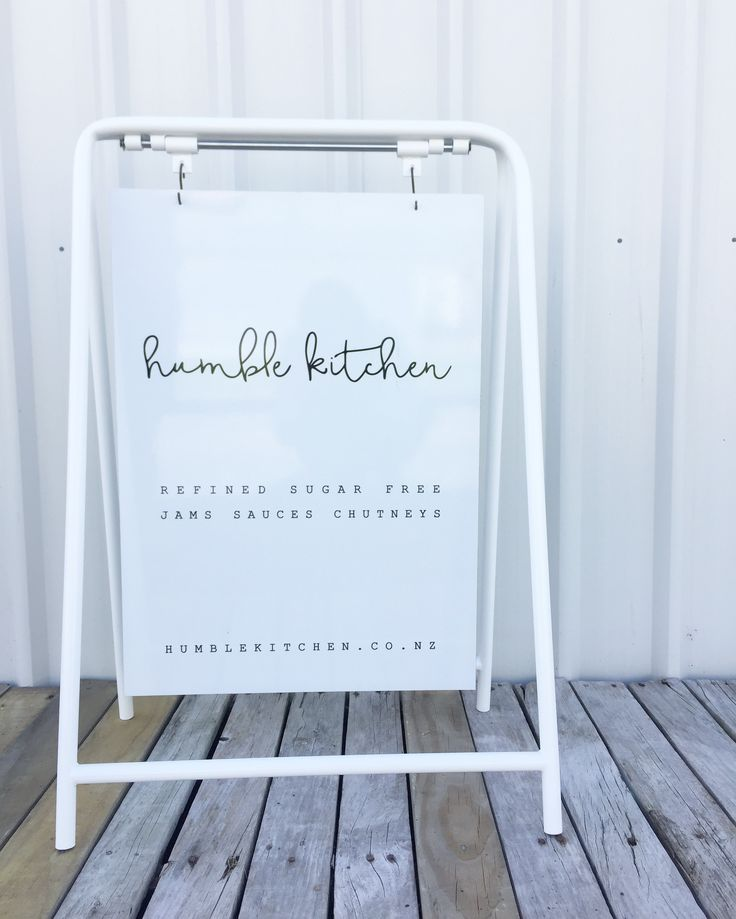 Mild steel white frame sign we made for @humblekitchennz handmade in New Zealand