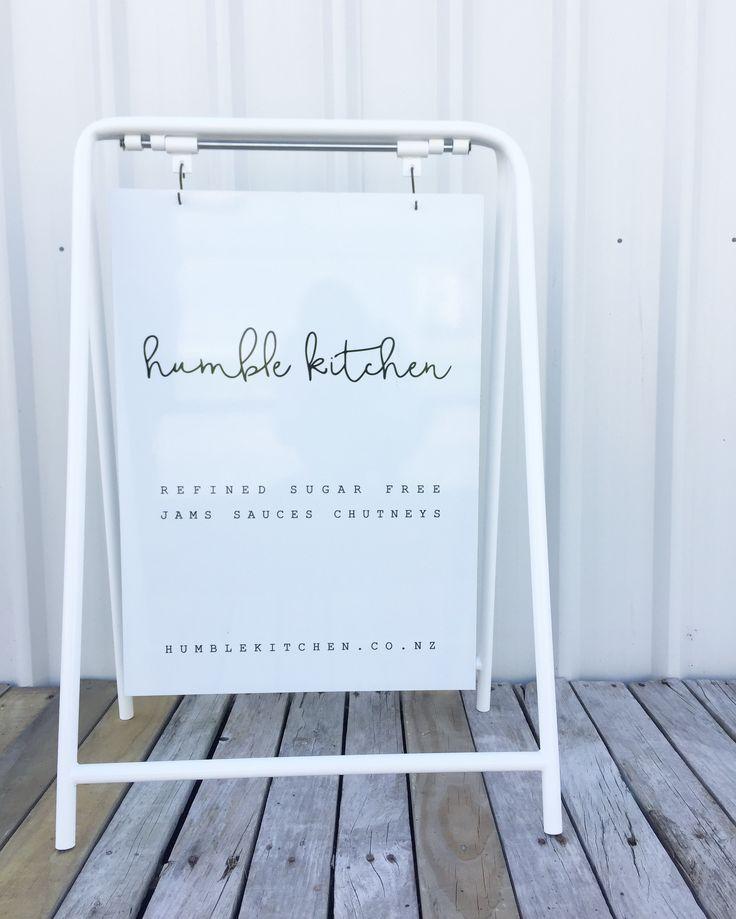 Mild steel white frame sign we made for @humblekitchennz handmade in New Zealand