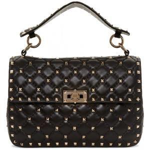 Valentino Black Medium Rockstud Matelassé Bag LW0B0122NAP