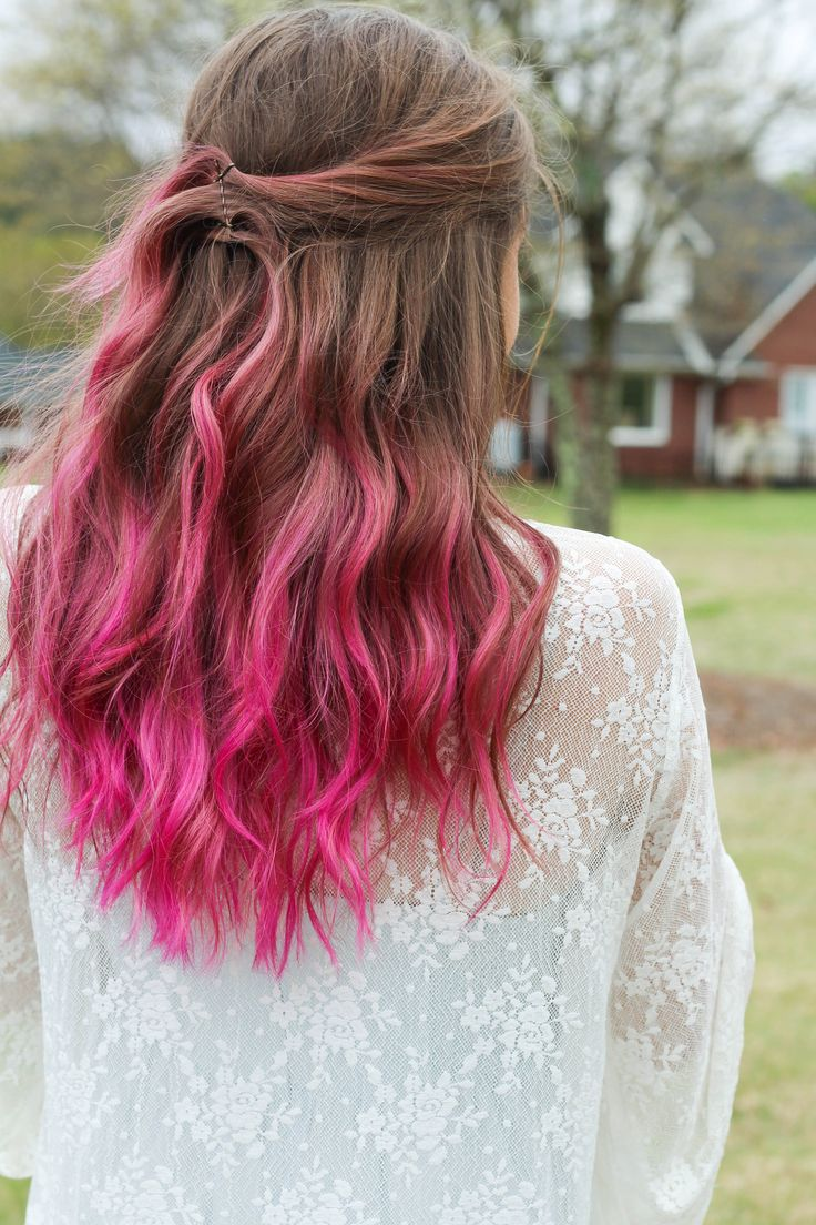 pink hair ombre on brown