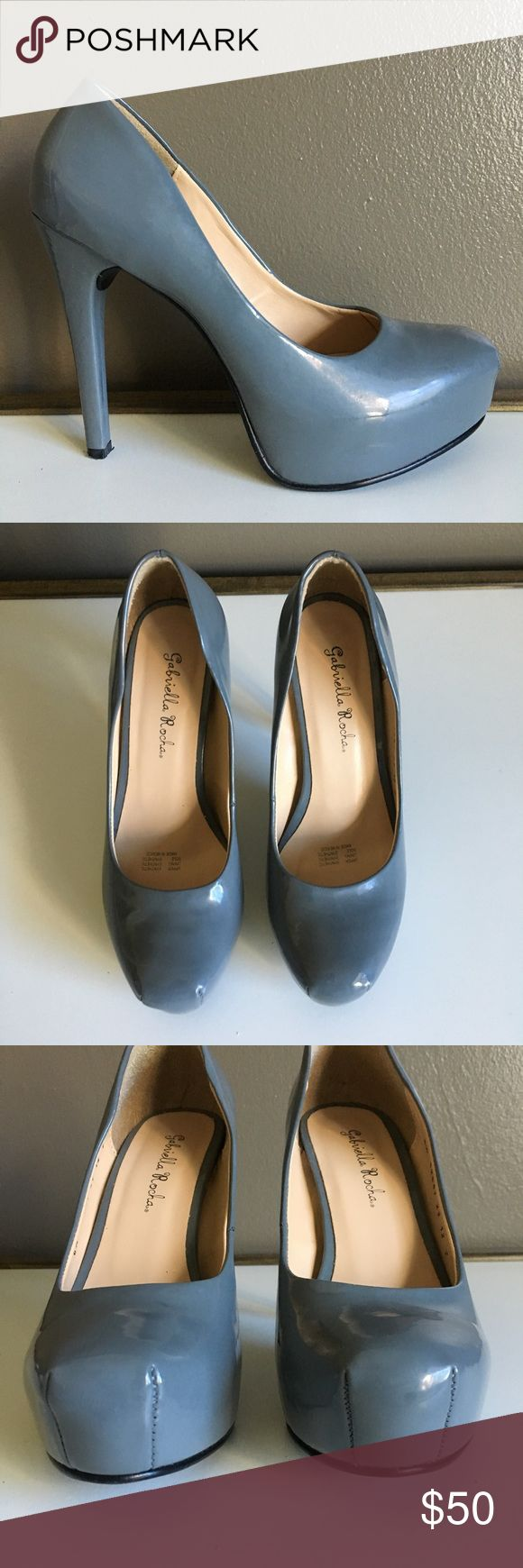 """Gabriella Rocha Pumps - Size 6.5 NWOT Gabriella Rocha grey patent synthetic leather pumps, size 6.5. I purchased these but never wore. They have some scratches on the back of one shoe, apparently they came like that and I never noticed. It's not noticeable in my opinion because it's on the inside of the left shoe. Hidden platform.   Approx heel height: 4.5"""" Approx platform height: 1"""" Gabriella Rocha Shoes Platforms"""
