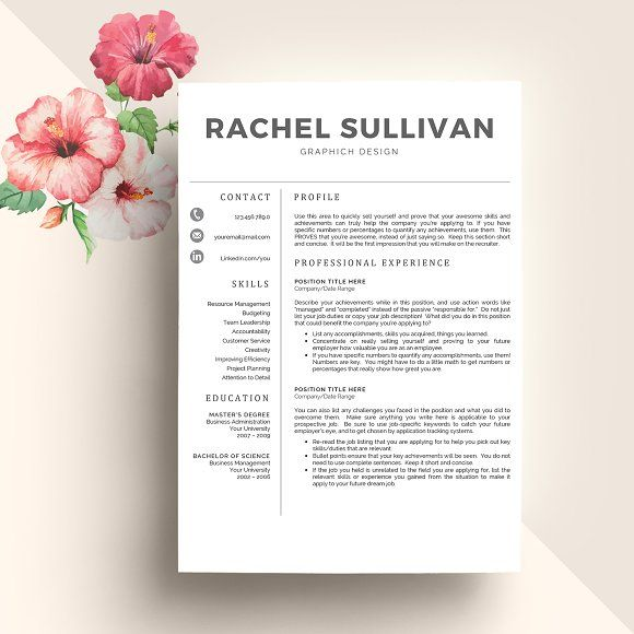 CV Template + Cover Letter by My Resume on @creativemarket