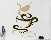 Coffee Cup wall art Vinyl Decal Kitchen Decor sign with words and lips, Coffee mug, Coffee Shop , wall decor