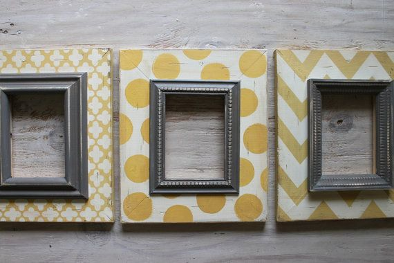 Distressed Picture Frames SET of 3 Shabby Chic Canary and Grey Vintage Nursery Frames