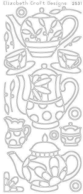 Elizabeth Craft Designs Peel-Off Sticker -2531B  Coffee and Tea Black