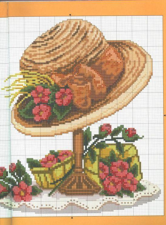 Mejores 50 imágenes de punto cruz sombreros en Pinterest   Punto de ...