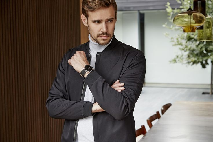 """Accurist Men's Styling No.1. Gentlemen! If you haven't added a navy bomber jacket to your 2018 wardrobe, what are you waiting for? #StylenotesfromAccurist  Search """"Accurist 7124"""" to shop this look.  #accuristwatches #MensWatches #WatchesOfInstagram #LookBook #OOT #MensFashion"""
