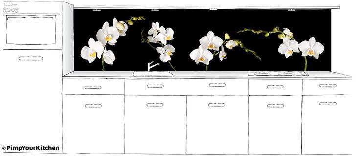 Serene witte orchideeën, op maat te bestellen voor de keukenachterwand
