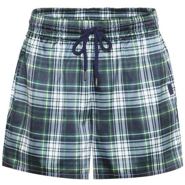 Fenty by Rihanna Plaid Satin Shorts ($255) ❤ liked on Polyvore featuring shorts, multicoloured, green shorts, tartan shorts, colorful shorts, multi colored shorts and puma shorts