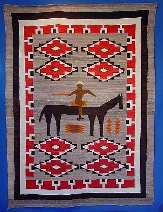 Navajo Rug Man On Horse 1920 Pictorial Len Wood S Indian Territory