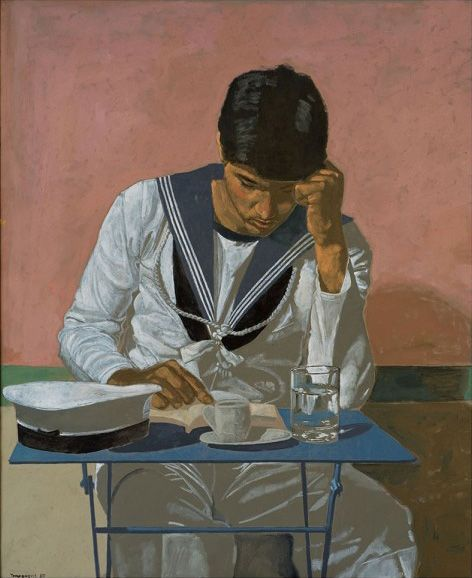 """Poster - Yannis Tsarouchis: """"Sailor reading, 1980. Oil on canvas. Private collection. Dimensions: 50x70 cm"""