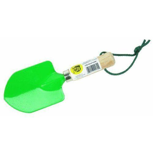 Rugg Mfg. C06 Kids Hand Trowel. Kids hand trowel. High-quality childrens garden hand trowel is a scaled down replica of full sized adult garden tools. Smooth finished hardwood handle with tether. Color: Green.