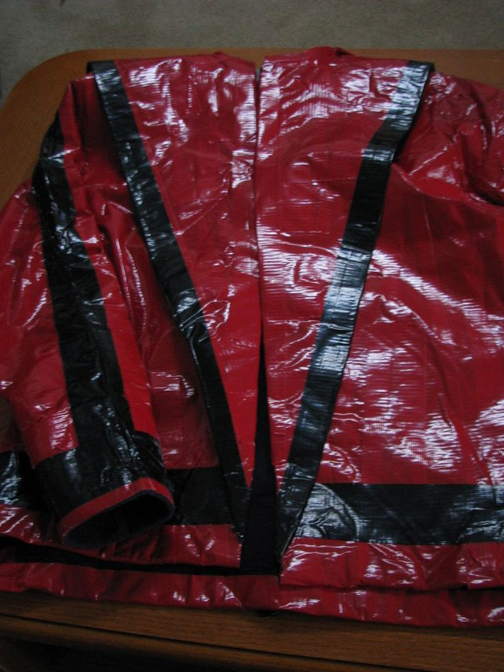 Michael Jackson red jacket using red and black duct tape, an old short sleeved shirt, and an old long sleeved shirt.