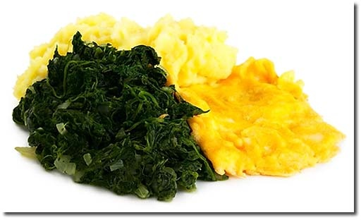 Spinat mit Rührei - My oma and mom used to make this all the time. Didn't realize it was a common German dish! Yummy.