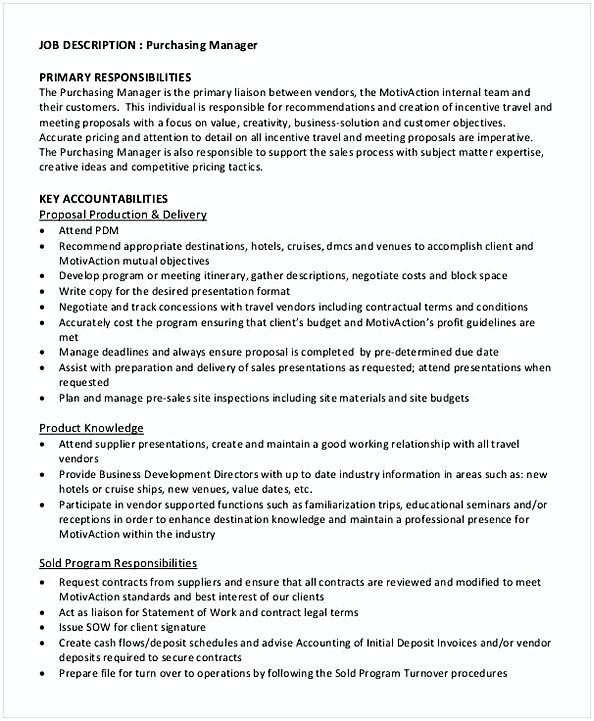 Purchasing Manager Primary Job Description Template , Purchasing