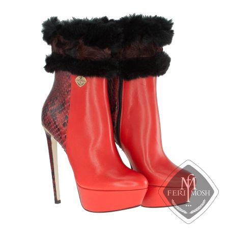 FERI MOSH - Domenica - Boots Price                                  $2,936 Canadian Dollars Product #                           FMLS-5316 Product Category              FERI MOSH Opulence Wear - Red genuine python and nappa leather platform ankle boots  - Made with a combination of nappa leather and python exterior with nappa leather lining - Genuine mink fur trim in 2 colours - Real leather sole - Gold metal trim along heel line - Metal plate with FERI MOSH logo on outer side of both shoes…