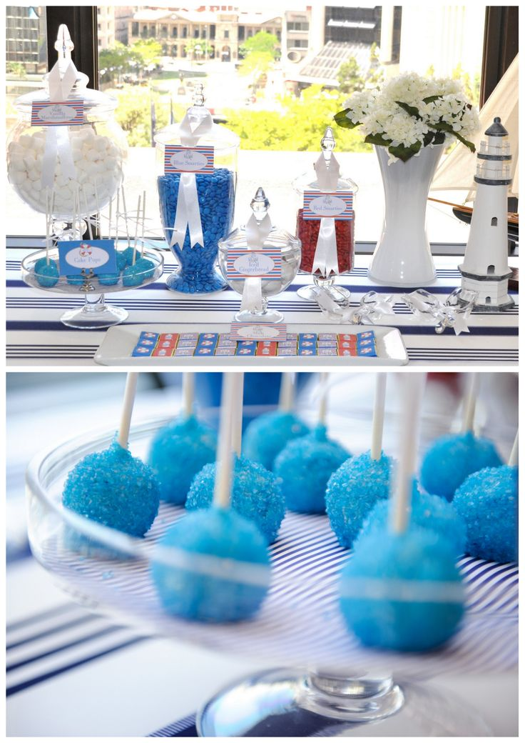 nautical candy buffet cake balls with blue sprinkles