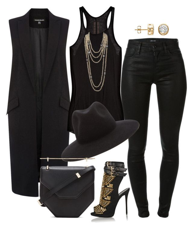 """""""Another Black Out"""" by fashionkill21 ❤ liked on Polyvore featuring Warehouse, J Brand, Rick Owens, Giuseppe Zanotti, rag & bone, Chanel and M2Malletier"""
