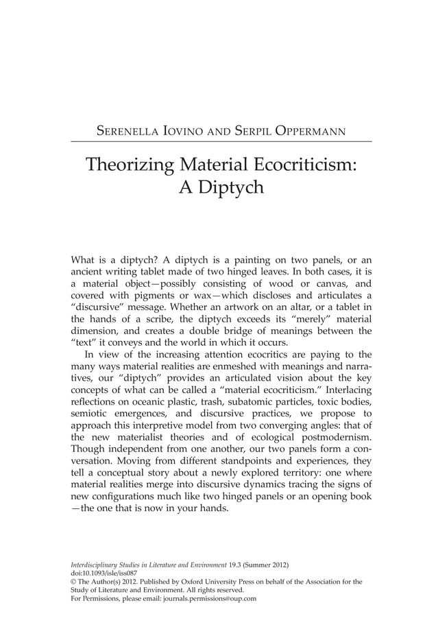 Theorizing Material Ecocriticism