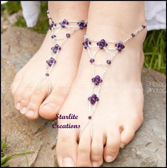 Barefoot Sandals  CADBURY PURPLE Velvet Crystals beach bridal foot jewellery 1pr
