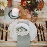 Girls Just Want to Have Fun, Baltimore Bride Magazine || White Glove Rentals: Finezza cream dinner plates, copper hammered flatware, quartz geode slice, Driftwood charger. Photography: Nessa K.