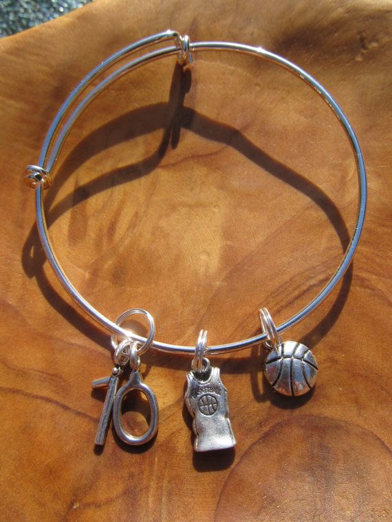 I LOVE BASKETBALL Adjustable Bangle Bracelet by DestinyAccessory