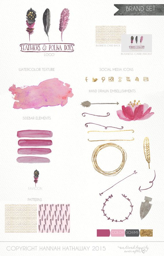 Business Identity Brand Set: Pre Made Boho Feather Feminine Watercolor Painted Logo