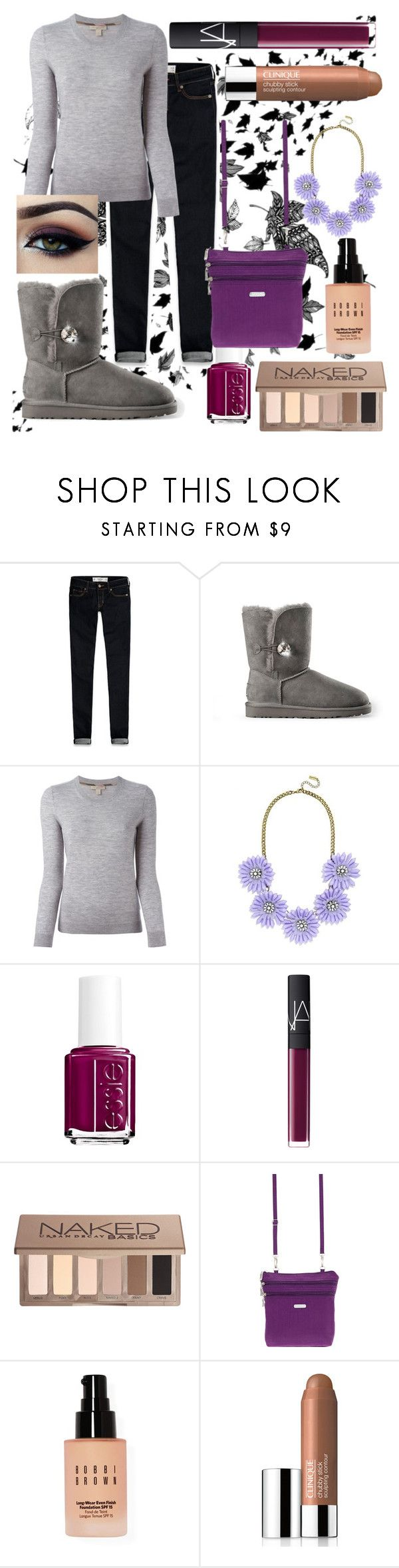 """""""Purple Hues"""" by carolynevers ❤ liked on Polyvore featuring Abercrombie & Fitch, UGG Australia, Burberry, BaubleBar, Ardell, Essie, NARS Cosmetics, Urban Decay, Baggallini and Bobbi Brown Cosmetics"""