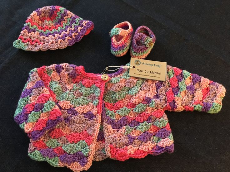 Girl's Cardigan, Hat and Shoes by DoodabugsCrochet on Etsy