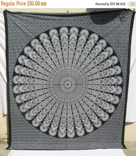 50%OFF Black & White Mandala Tapestry by mihirgemsandcraft