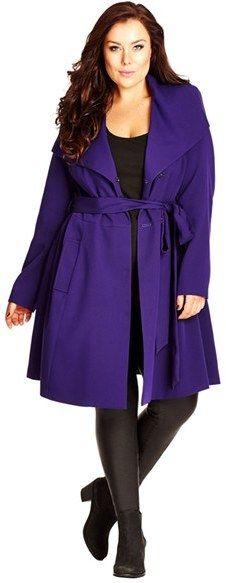Plus Size Colored Trench Coat Purple #UNIQUE_WOMENS_FASHION