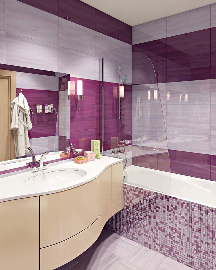 Лиловая ванная комната  #нашпроект #дизайн #kashtanovacom #интерьер #дизайнинтерьера #декор #ванна #лиловый #цвет #дизайнстудия #interior #design #interiordesign #bathroom #decor