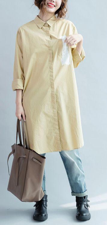 2016 fall khaki cotton dress womens long shirt long sleeve cotton blouse