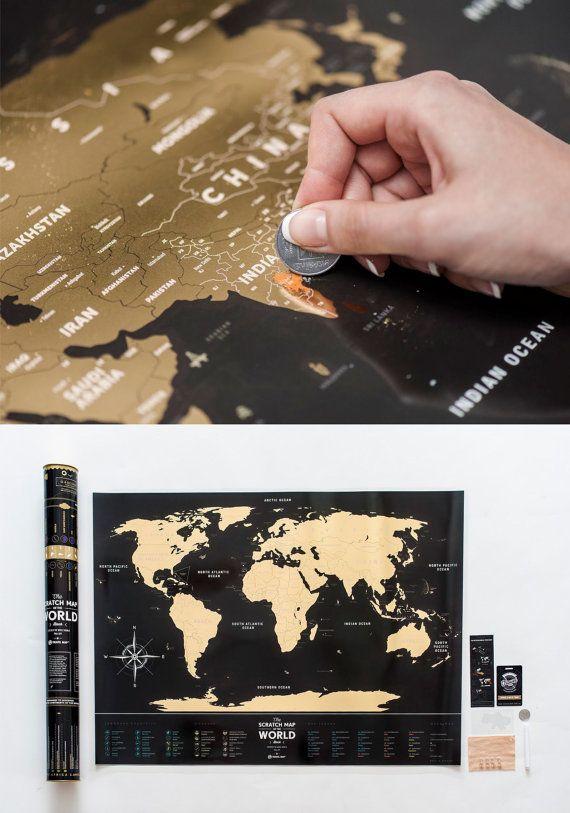 Premium plastica Black Scratch Mappa del mondo. di 1DEAmeShop