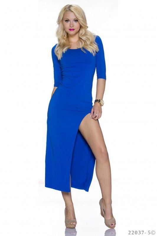 Blauwe maxi dress met split aan de zijkant