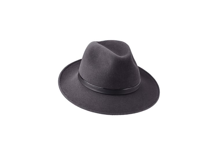 The A/W15 Collection | Amber Trilby | Elephant Grey | Patent & Black Leather Band www.penmayne.com #trilby #hats #accessories