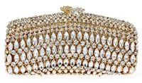 Sacos de festa à noite sacos do casamento saco do partido das mulheres de luxo ouro nupcial Clutch mulheres cheios cristais flor bolsa de Metal