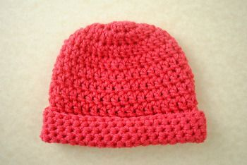 Newborn Crochet Hat | This simple crochet hat was created to help promote awareness of heart disease