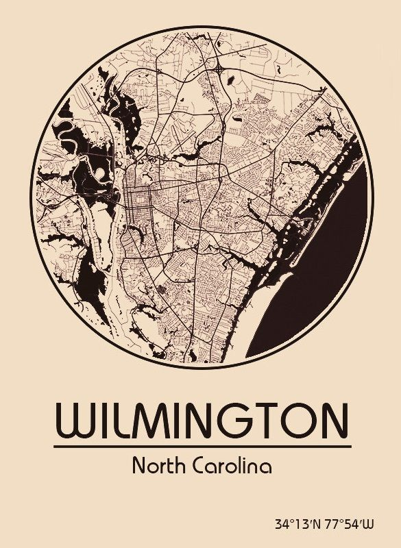 Karte / Map ~ Wilmington, North Carolina - Vereinigte Staaten von Amerika / United States of America / USA