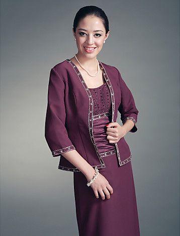 SALVIA - Vestido de Damas em Chifon e Cetim com Xale - BRL R$ 410,37