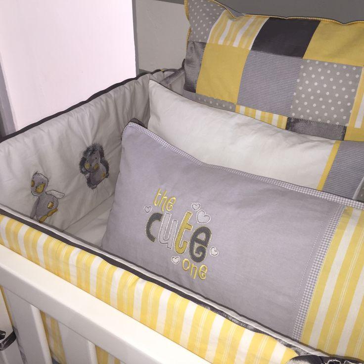 Honeymist Linen Yellow, grey and white baby cot linen