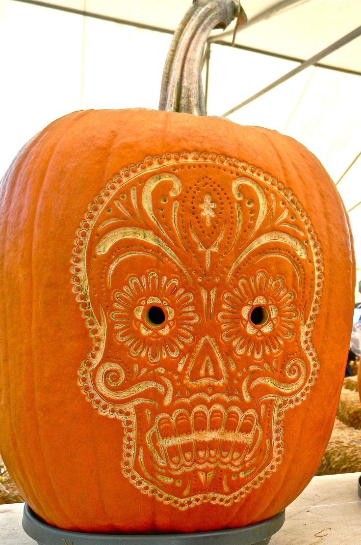 katiedid -- [REPINNED by All Creatures Gift Shop] Sugar Skull Pumpkin Art