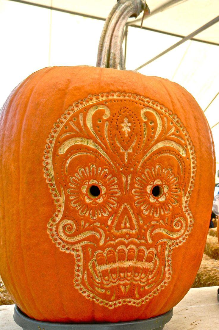 25 best ideas about sugar skull pumpkin on pinterest for Skull pumpkin carving ideas