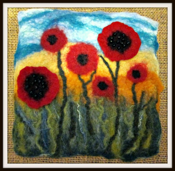 Make this felted picture of vibrant poppies. Kits available from FeltEvolution.com.  Workshops also available in Southern California.
